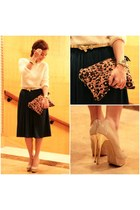 tonic bag - navy blue midi DIY skirt - nude Zara pumps
