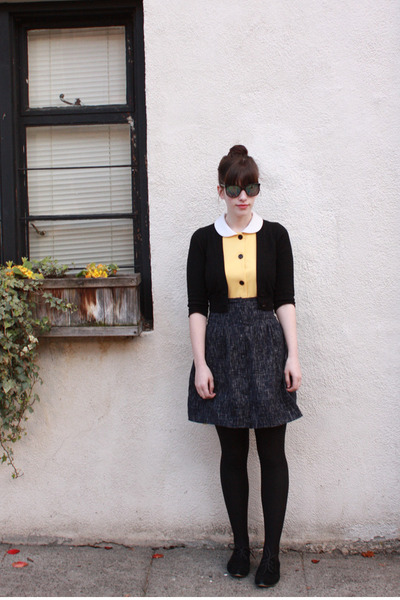 yellow thrifted dress - black Urban Outfitters shoes - black Target tights