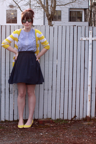 yellow Old Navy cardigan - blue Gap dress - blue Forever 21 dress - yellow Targe