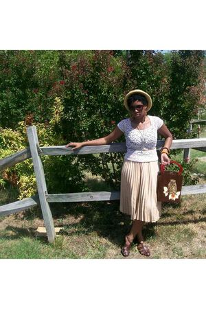 white vintage shirt - beige vintage skirt - brown vintage shoes - brown vintage