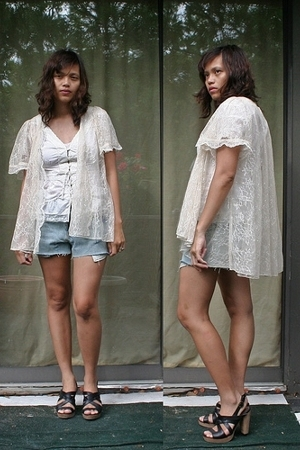 calvin klein blouse - correy lyn calter jacket - DIY shorts - seychelles shoes