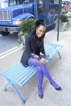 purple H&M tights - black Payless shoes - black f21 dress