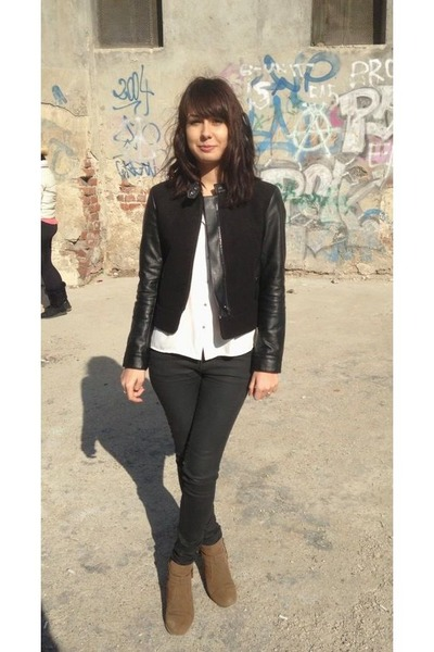 black H&M jacket - camel Zara shoes - black Zara leggings - ivory H&M top