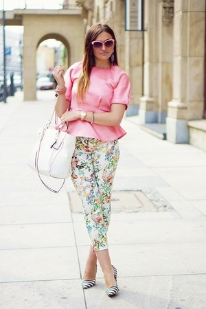 bubble gum H&M blouse - beige Zara pants