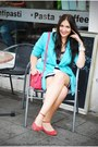 Turquoise-blue-second-hand-blazer-h-m-dress