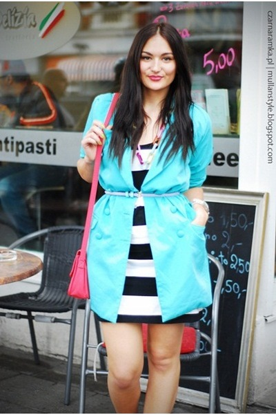 turquoise blue second hand blazer - H&amp;M dress