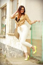 camel Cubus jacket - white Zara pants - yellow pimke heels