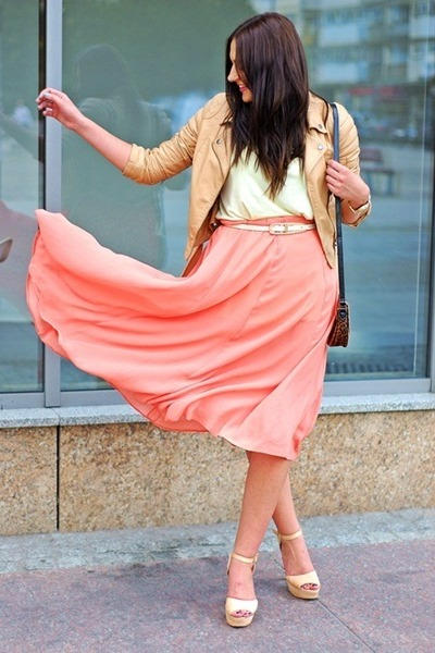 light orange no name skirt - nude Cubus jacket - neutral H&M heels