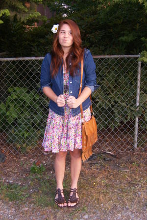 purple Forever 21 dress - blue Levi shirt - brown purse - gold DIY necklace - br