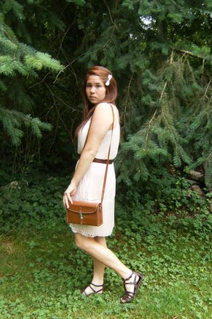pink H&M dress - brown dads belt - brown vintage purse - brown Forever 21 shoes