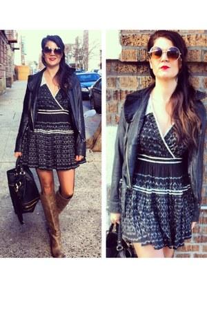 free people dress - Frye Boots boots - Vintage Leather Jacket jacket