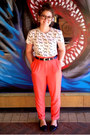 Salmon-high-waist-forever21-pants-white-dog-print-vintage-t-shirt