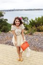 Cream-princess-polly-dress-carrot-orange-clutch-sportsgirl-bag