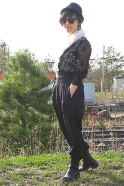 white American Apparel shirt - black liz claiborne blouse - black pants - black