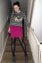 charcoal gray Topshop boots - black Marks & Spencer tights - hot pink American A