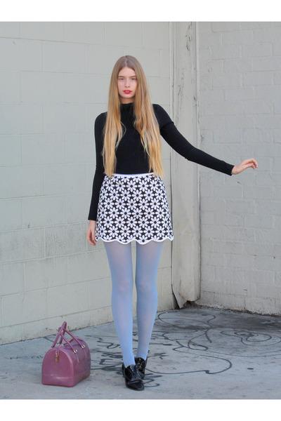 white vintage skirt - periwinkle American Apparel tights - amethyst Furla bag