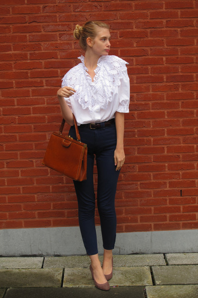 white vintage shirt - brick red vintage bag - navy American Apparel pants