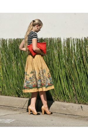 red American Apparel bag - mustard vintage skirt - black childhood memory top