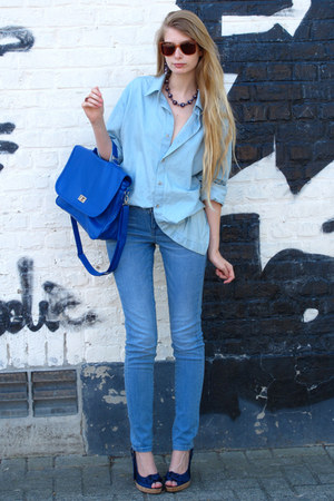 periwinkle American Apparel shirt - blue Wholesale Dress bag - blue Zara pants