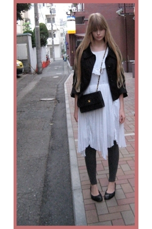 black H&M jacket - white vintage dress