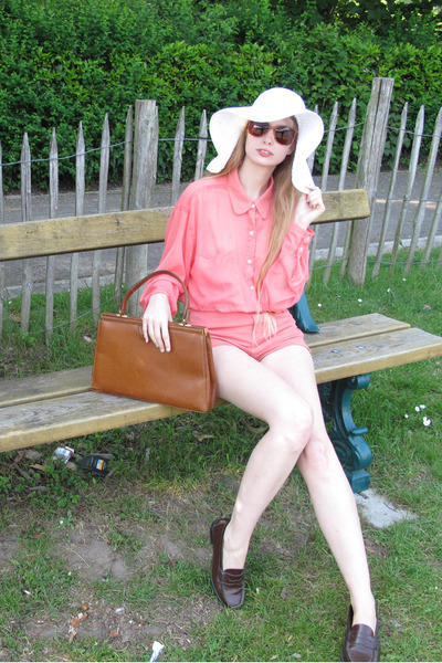 white H&M hat - salmon American Apparel shirt - burnt orange vintage bag - coral