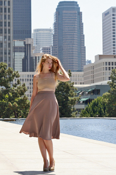 nude vintage top - light pink Miu Miu bag - beige Zara heels