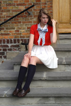 ivory American Apparel shirt - navy vintage socks - red Melvin cardigan - ivory
