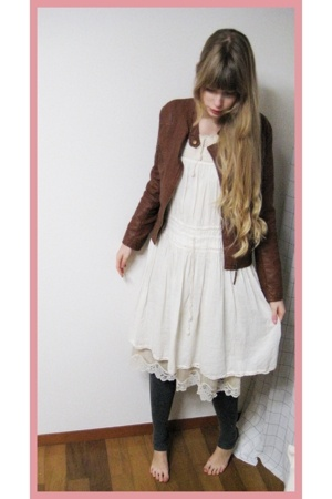 Riche Glamour jacket - Hanjiro dress - vintage dress - H&M leggings