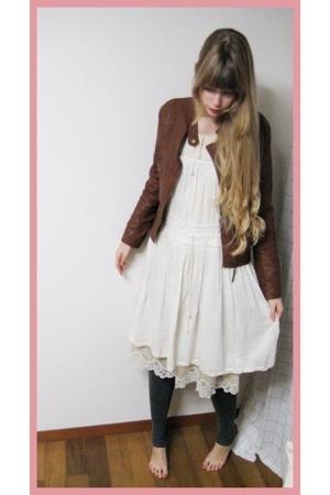 Riche Glamour jacket - Hanjiro dress - vintage dress - H&M leggings