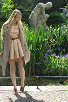 brown Cecil boots - beige vintage coat - nude Zara skirt - brown American Appare