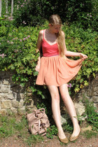 light pink Miu Miu bag - red H&M top - salmon American Apparel skirt - camel chi