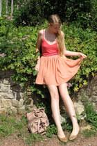 light pink Miu Miu bag - red H&M top - salmon American Apparel skirt - camel chi