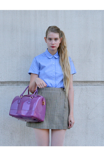 amethyst Furla bag - sky blue American Apparel shirt - camel vintage skirt