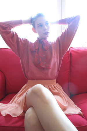 hot pink Rodier sweater - red vintage scarf - coral American Apparel skirt