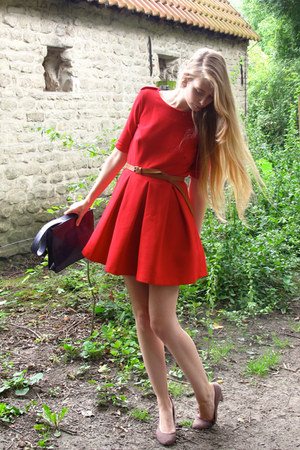 red Zara dress - deep purple vintage bag - puce Zara heels