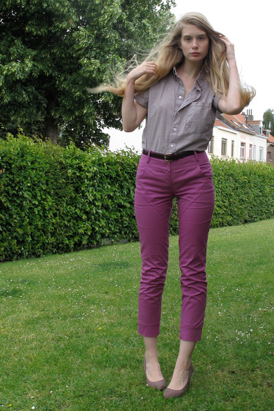 dark brown American Apparel shirt - puce Zara heels - magenta Melvin pants - cri