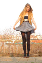 navy American Apparel top - navy American Apparel skirt - bronze vintage vest -