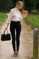 dark brown Cecil boots - black vintage bag - black American Apparel pants - whit