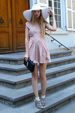 light pink Wholesale Dress dress - white H&M hat - navy vintage bag - heather gr