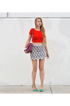 black vintage skirt - carrot orange American Apparel top