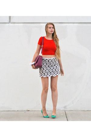 black vintage skirt - carrot orange American Apparel top
