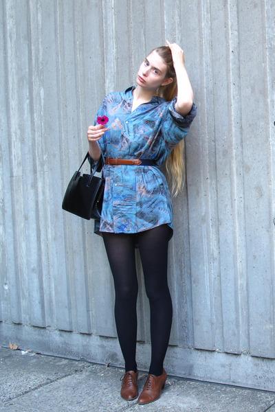 dark brown Cecil boots - blue vintage shirt - black American Apparel tights - bl