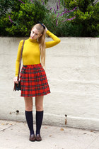 ruby red vintage skirt - navy vintage socks - mustard American Apparel top