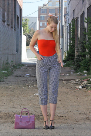 navy vintage pants - amethyst Furla bag - red American Apparel bodysuit