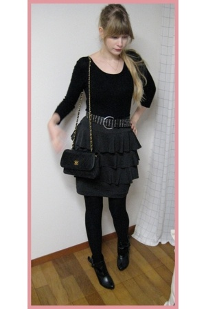 H&M top - H&M skirt - 390 Harajuku belt - Chanel purse - vintage boots