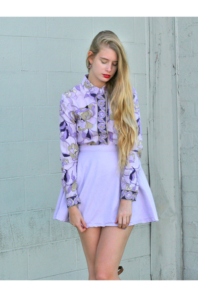 light purple American Apparel skirt - light purple h&m 90s blouse