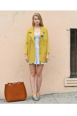 mustard vintage jacket - brown Zara bag - periwinkle vintage skirt