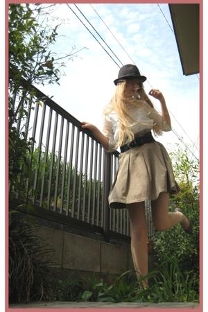 vintage shirt - H&M skirt - H&M belt - Hanjiro hat