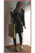 H&M dress - store in harajuku top - vintage blazer - American Apparel leggings -
