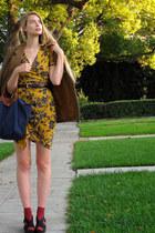 magenta American Apparel socks - mustard vintage dress